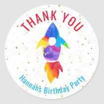 Rainbow Watercolor Rocket Outer Space Thank You Classic Round Sticker