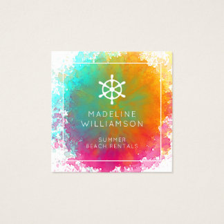 Rainbow Watercolor Seashell Beach Theme Square Business Card
