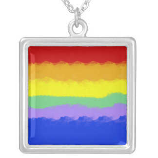 Rainbow Watercolor Silver Plated Necklace