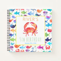 Rainbow Watercolor Under The Sea Crab Guest Book