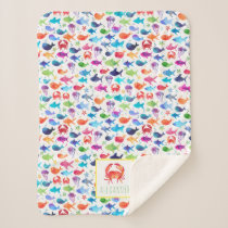 Rainbow Watercolor Under The Sea Crab Personalized Sherpa Blanket