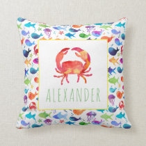 Rainbow Watercolor Under The Sea Crab Personalized Throw Pillow