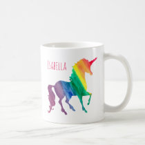 Rainbow Watercolor Unicorn Pretty Personalized Coffee Mug