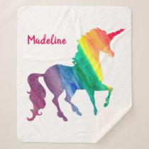 Rainbow Watercolor Unicorn Silhouette Girls Sherpa Blanket