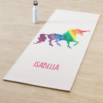 Rainbow Watercolor Unicorn Silhouette Personalized Yoga Mat