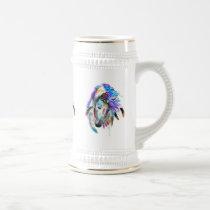Rainbow watercolor war horse beer stein