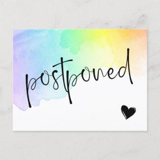 Rainbow Watercolor Wash Postponed Wedding Announcement Postcard