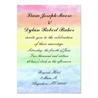 """Rainbow Watercolor"" Wedding Invitations"