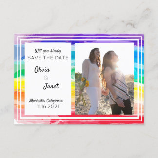 Rainbow Watercolors Wedding Save The Date PHOTO Invitation
