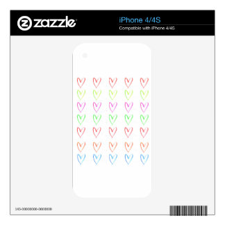 Rainbow watercolour heart pattern decal for iPhone 4