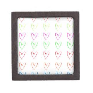 Rainbow watercolour heart pattern premium keepsake boxes