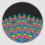Rainbow Waterfall - Fractal Art Classic Round Sticker