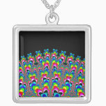 Rainbow Waterfall - Fractal Art Silver Plated Necklace