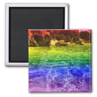 Rainbow Waters 2 Inch Square Magnet