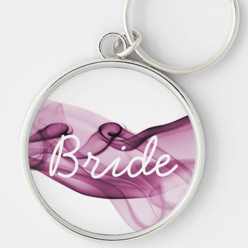 Rainbow Wave Pink - Bride Silver-Colored Round Keychain