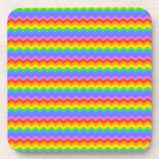 Rainbow Wave Stripes. Drink Coaster