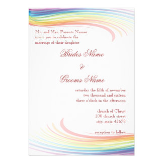 Rainbow Wave Wedding Invitation