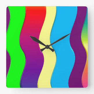 Rainbow Waves Wallclock