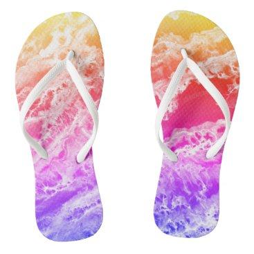 Beach Themed Rainbow Waves Flip Flops