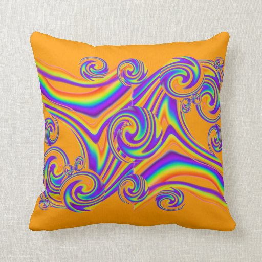 Rainbow Waves lamps and throw pillows