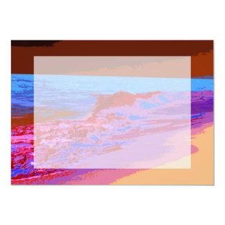 rainbow waves on beach red 5x7 paper invitation card