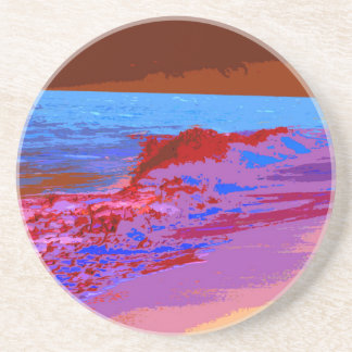 rainbow waves on beach red beverage coasters