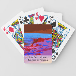 rainbow waves on beach red bicycle playing cards