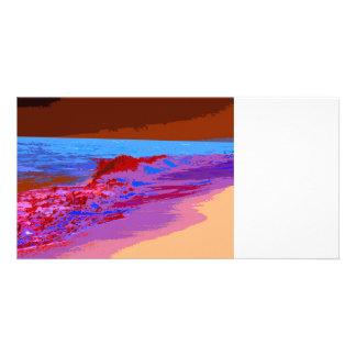 rainbow waves on beach red photo card