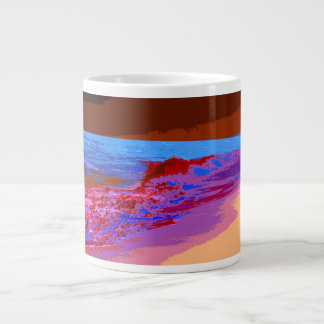 rainbow waves on beach red jumbo mugs