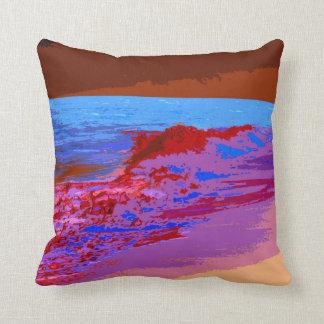 rainbow waves on beach red throw pillow