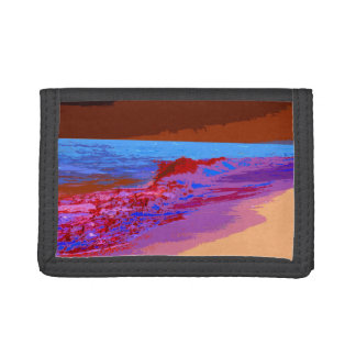rainbow waves on beach red trifold wallet