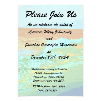 rainbow waves on beach sea abstract 5x7 paper invitation card