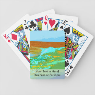 rainbow waves on beach sea abstract bicycle playing cards