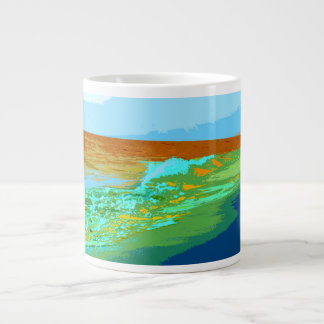 rainbow waves on beach sea abstract jumbo mug
