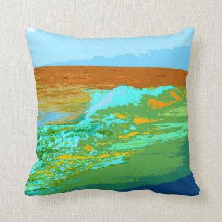 rainbow waves on beach sea abstract throw pillows