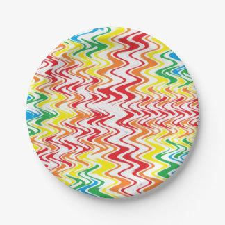Rainbow Waves Paper Plate