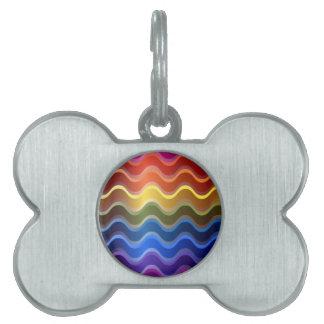 Rainbow Waves Pet ID Tag