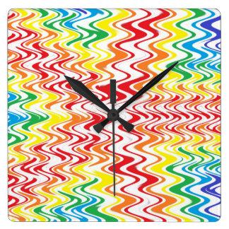 Rainbow Waves Square Wall Clock