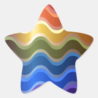 Rainbow Waves Star Sticker