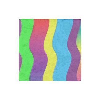 Rainbow Waves Stone Magnet