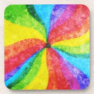 Rainbow Wax Crayon Swirls Beverage Coaster