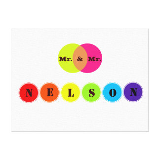 Rainbow Wedding Board for 6 Letter Family Name Stretched Canvas Print