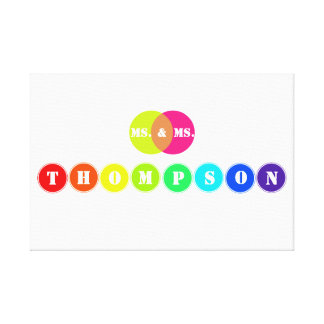 Rainbow Wedding Board for 8 Letter Family Name Gallery Wrap Canvas
