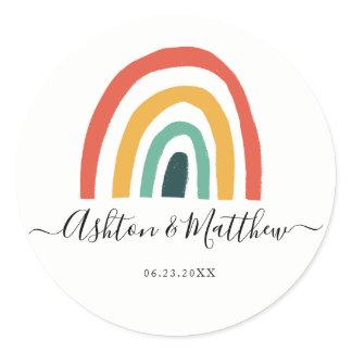 Rainbow wedding classic round sticker