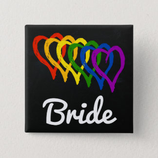 Rainbow Wedding Layered Hearts Bride Pinback Button