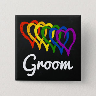 Rainbow Wedding Layered Hearts Groom Pinback Button