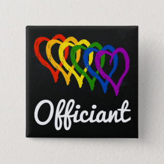 Rainbow Wedding Layered Hearts Officiant Pinback Button