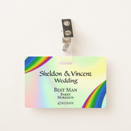 Rainbow Wedding Party ID Double Sided Badge