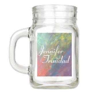 Rainbow Wedding | Psychedelic Color Brushstrokes Mason Jar