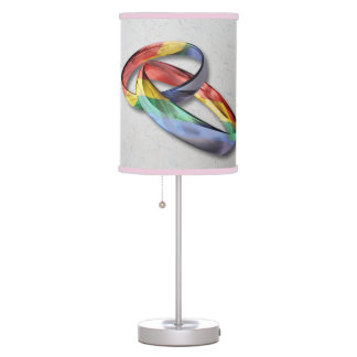 Rainbow Wedding Rings for Marriage Equality Desk Lamp
